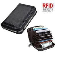 Mens Wallet Credit Card Holder Genuine Leather RFID Blocking Zipper Pocket