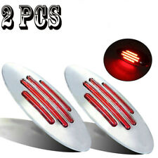 2x Red Truck Trailer Side Marker Clearance Light With Chrome Base 24 LED DC 12V