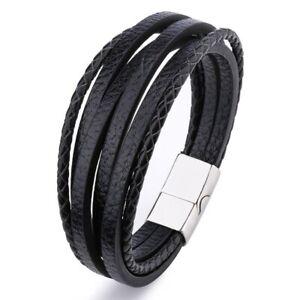 Men Leather Bracelet Multi Strand Silver Magnetic Clasp Bracelets Home Wrap Mens
