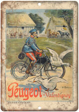 "Peugeot Valentigney Vintage Motorcycle Ad 10"" X 7"" Reproduction Metal Sign F22"