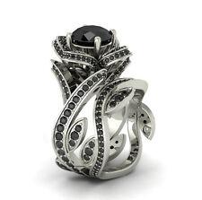 Flower Lotus Rose Black Diamond 925 Sterling Silver Engagement Bridal Ring Set