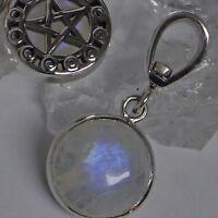 Peter Stone Mondphasen Pentagramm 925 Silber Mondstein Anhänger zwei Seiten