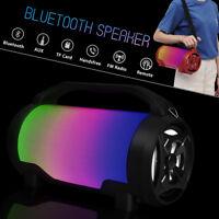Portable LED Wireless bluetooth Super Bass Speaker Boombox USB TF Slot FM