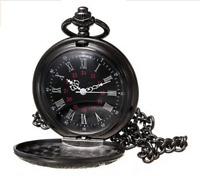 chwarz Skelettuhr Mechanische Uhr Handaufzug Herren Analog Taschenuhr mit Kette