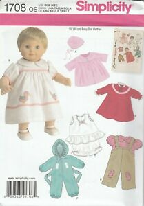 """Simplicity Sewing Pattern 1708 Baby Dolls Clothes 15"""" Coat Bonnet Dress Overalls"""
