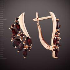 Russian solid rose gold 585 14k genuine  garnets cluster earrings NWT