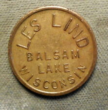 New ListingBalsam Lake, Wisconsin, Les Lind / Good For 5c In Trade. Brass, 21mm
