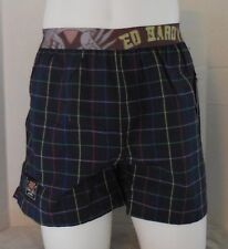 Ed Hardy Men's Woven Boxer Button Fly Shorts Color Navy Size L 36-38 New
