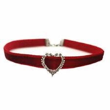 giorno di San Valentino Brillante CUORE STRASS ROSSO VELLUTO Girocollo collana