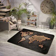 3D Black Trace P5325 World Map Non Slip Rug Mat Elegant Photo Carpet Kay