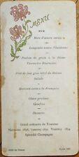 MENU - French 1905: Hotel du Faisan w/Wine: Malvoisie 1898, Vouvray 1895/1834