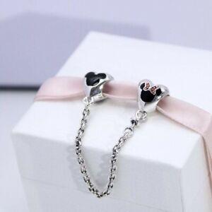 Disney, Mickey, Minnie, Safety Chain Authentic Pandora Sterling Silver Charm