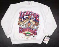 Vtg Cleveland Indians MLB 1995 Caricature American League Champion Sweatshirt XL