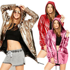 Women Gold Fashion Shiny Bling Jacket Metallic Hooded Loose Coat Hoodie Clubwear