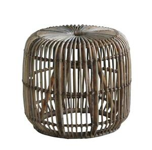 The Bali Rattan Side Table Hand Made Grey Natural