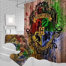 Harry Potter 4PCS Bathroom Rugs Shower Curtain Bath Mat Contour Toilet Lid Cover