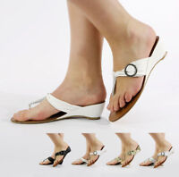 NEW LADIES HI CELEBRITY STYLE LOW WEDGE TOE POST EVENING SANDALS SHOES SIZE 3-8