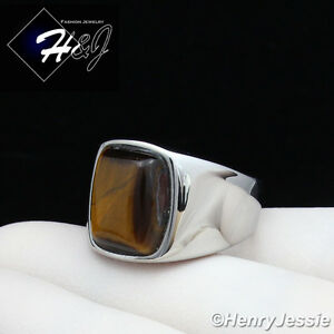 MEN's Stainless Steel Tiger Eye Gemstone Stone Silver Ring Size 8-13*TR110