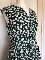 Vintage Medium Green White Daisy Landgirl 1950s Summer Kitsch Cute Tea Dress