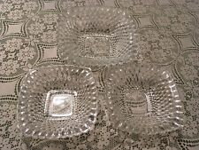 Set of 3 Crystal Depression Glass Diamond Hobnail Dishes