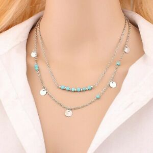 Ladies Silver Turquoise Beaded & Circle Chocker 3Tier Multilayer Womens Necklace
