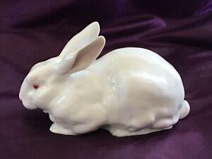 Heubach Porcelain White Albino Rabbit Figurine