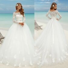 Wedding Dresses Long Sleeves Bridal Gowns Boat Neck Plus Size 0 4 8 12 16 18 20