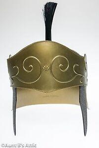 Roman Soldier Helmet Deluxe Gold Plastic With Black Brush Military Costume Hat
