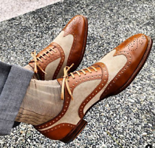 NEW-Handmade Men's Two Tone Wingtip Brown Leather & Beige Suede Shoes For Men