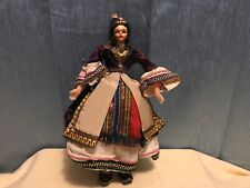 "Beautiful Vtg 1940's Molded Cloth, Hand Painted Face,Ethnic 11 1/2"" Doll"