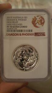 2017 Dragon & Phoenix 1oz Silver Proof NGC PF 70 UC ER, high relief!