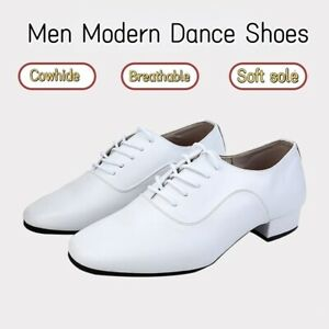 Mens Modern Dance Shoes Cowhide Ballroom Latin Shoes Soft Sole 2.5cm Heels