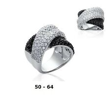 Grosse Bague Rhodié T60 Entrelaçé Diamant Cz Black and White Argent Dolly-Bijoux