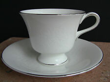 Wedgwood Silver Ermine White Cups and Saucers - Contour Shape - Set of 4