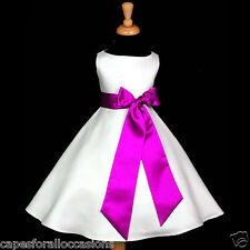 WHITE A-LINE T-LENGTH WEDDING FLOWER GIRL DRESS 12M-18M 2/3T 4/5T 6 7 8 10 12 14