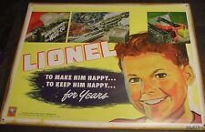 VINTAGE 1940'S RETRO LIONEL TRAIN SET TIN SIGN 1948 art Locomotive tracks boy