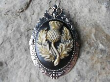 2 IN 1 - SCOTTISH THISTLE (HAND PAINTED) CAMEO BROOCH / PIN / PENDANT - SCOTLAND