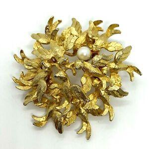 Vintage Gold Tone Signed CAPRI Pearl Bird Art Brooch Pin Jewelry