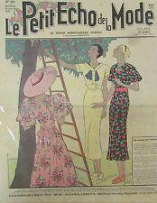 LE PETIT ECHO DE LA MODE N° 24 de 1936 GRAVURE VINTAGE PRINTEMPS CAMPAGNE CERISE