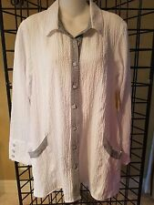 NWT Habitat Women's White and Black Button Up Tunic with Pockets, Size XS