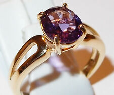 Oval Amethyst solitaire (2.25ct) in gold overlay Sterling Silver, Size S.