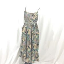 I heart Ronson Boho Black Yellow Green Floral Midi Dress w Pockets S