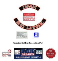 HOLDEN HZ COMMODORE VB 5 LITRE RED MOTOR GMH ENGINE BAY DECAL KIT RARE SPARES