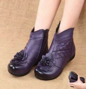 Women leather boots retro casual shoes soft-soled velvet lined floral shoes -
