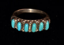 Old Pawn Native Zuni Sterling Silver Turquoise Petit Point Ring - Size 6.25