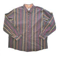 J GARCIA Mens 2XL Brown Stripe Long Sleeve Button Up Dress Shirt Grateful Dead