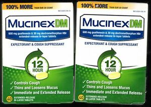 (2)Mucinex DM 12-Hour Expectorant & cough Suppresent 80 Tablets total exp 6/2021