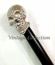 Brass Skull Design Handle Wood Walking Shaft Stick Brass Vintage Walking Cane