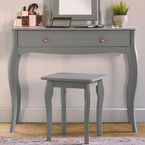 Grey Dressing Table Rose Gold Desk Chic Vanity Makeup Storage Dresser