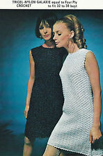 """LADIES CROCHET PATTERN LOVELY VINTAGE 4ply DRESS 4 SIZES 32-38"""" BUST"""